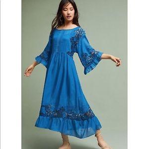 GORGEOUS Anthro embroidered tea length dress